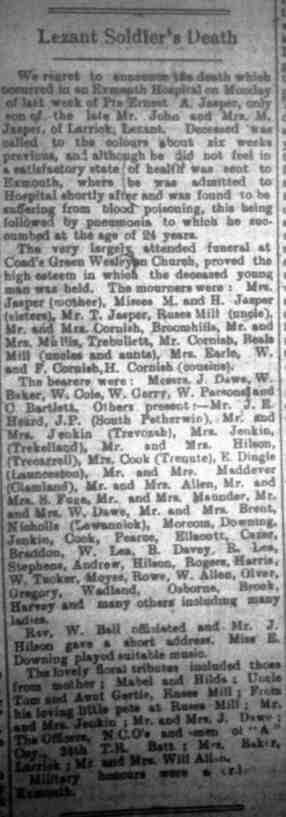 Ernest A Jasper's funeral article