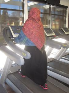 Amil on the treadmill.