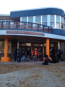 "Rainier Beach students gather outside the school for a ""chalk out."" Photo Credit: drea chicas"
