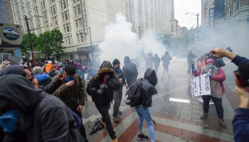 The Seattle Police Department let off flash grenades and sprayed pepper spray in an effort to disperse protester during a May 30 protest over the killing of George Floyd by the Minneapolis Police Department.