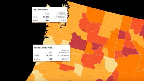 Map of Washington State depicting COVID-19 cases and deaths. Lighter colored counties show a lower death and case rate per population. Darker colored counties are a higher rate of cases and deaths per population.