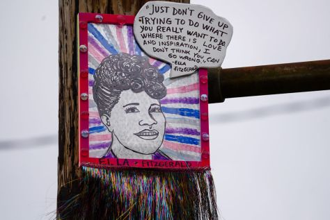 The portrait of Ella Fitzgerald is one of the newer pieces by artist thatswhatshesaid206. It is located in Columbia City, not far from the Royal Room. The anonymous artist started putting up pieces featuring inspirational women during Women's History Month in 2020.