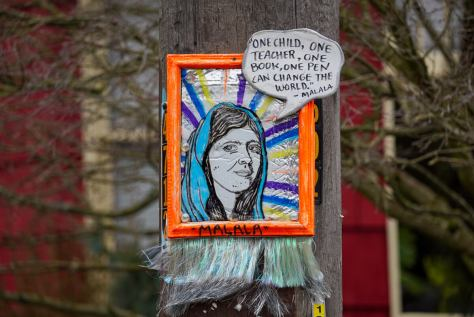 The portrait of Malala Yousafzai is also located at the intersection of South Edmonds Street and 35th Avenue South.