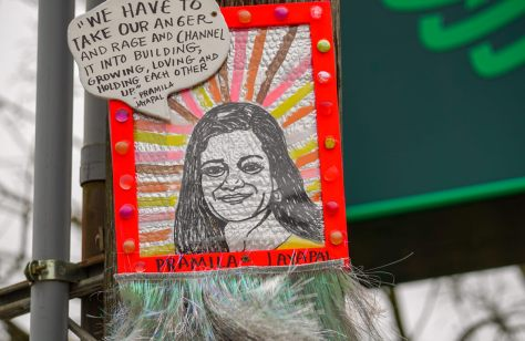 Congress Woman Pramila Jayapal's picture is located across the street from Fresh Flours on Beacon Hill.