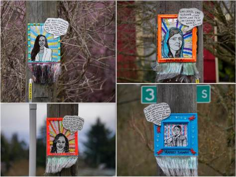 The intersection of S. Edmunds Street and 35th Avenue S. features portraits of Ayanna Pressley, Malala Yousafzai, Kamala Harris, and Harriet Tubman.