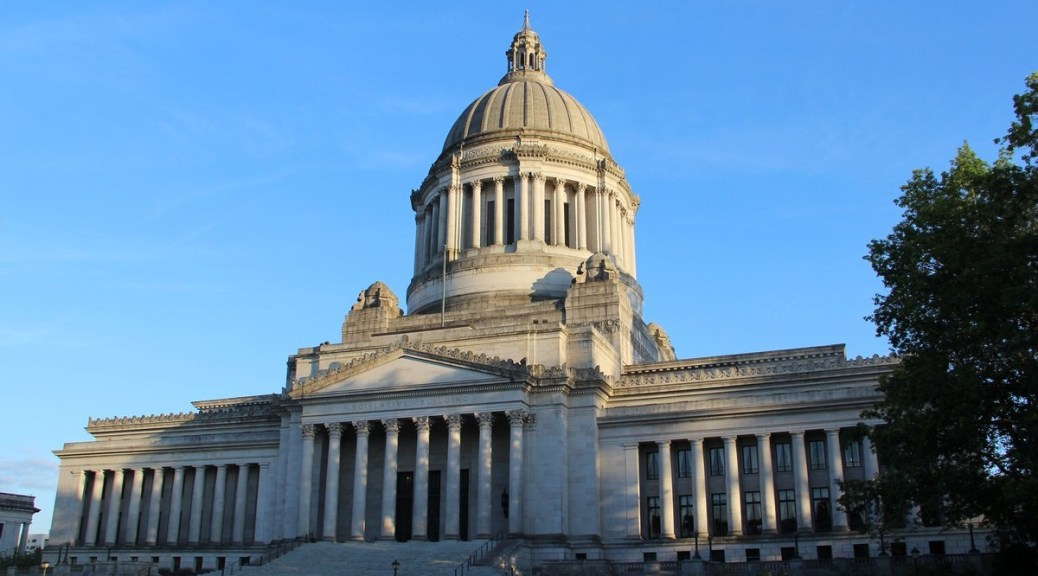 Photo of the front exterior of the Washington State Capitol Building in Olympia, Washington.