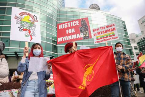 Members of Seattle's Burmese community came together near the Space Needle on March 26 to show opposition to the military coup in Myanmar/Burma.