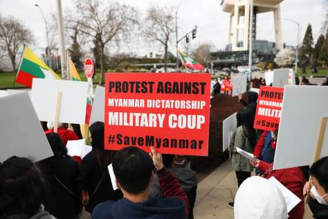 Protesters demonstrated against the violent military coup in Myanmar/Burma, which began on Feb. 1 and has taken the lives of hundreds of civilians.