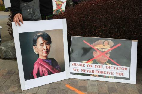Signs demonstrating opposition to coup leader General Min Aung Hlaing and calling for president Aung San Suu Kyi to be released.
