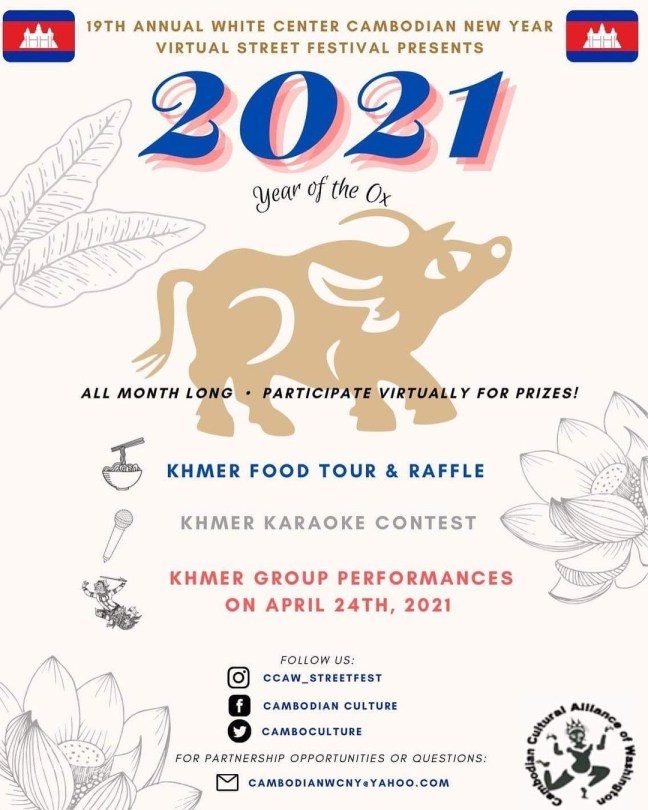 A flyer for CCAW's 2021 White Center Cambodian New Year Virtual Street Festival.