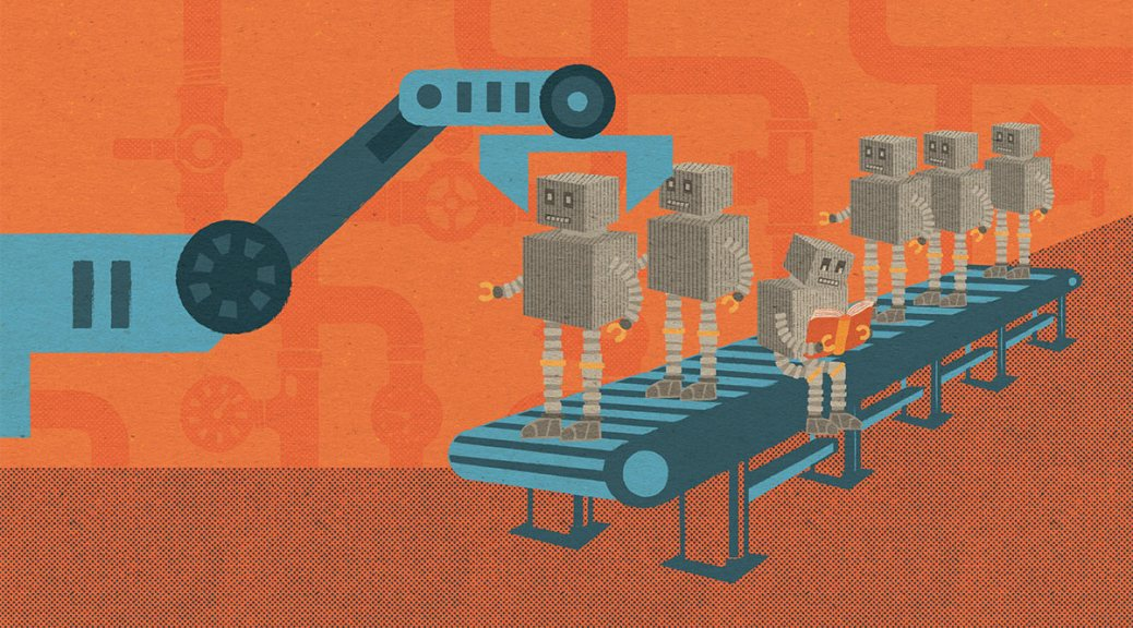 Illustration of a machine pulling robots off a conveyer belt with one robot seated happily reading a book.