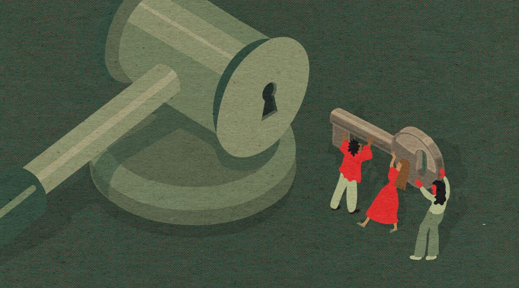 Illustration by Alexa Strabuk: three small figures hold a large key, carrying it toward a key hole on the business end of a gavel.