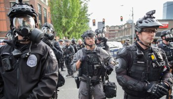 Seattle Police Department officers during a Black Lives Matter protest in Seattle on May 31, 2020.