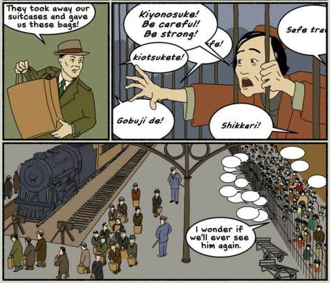 """A scene from the new graphic novel """"We Hereby Refuse"""" depicting Japanese Americans being boarded onto a train at King Street Station."""