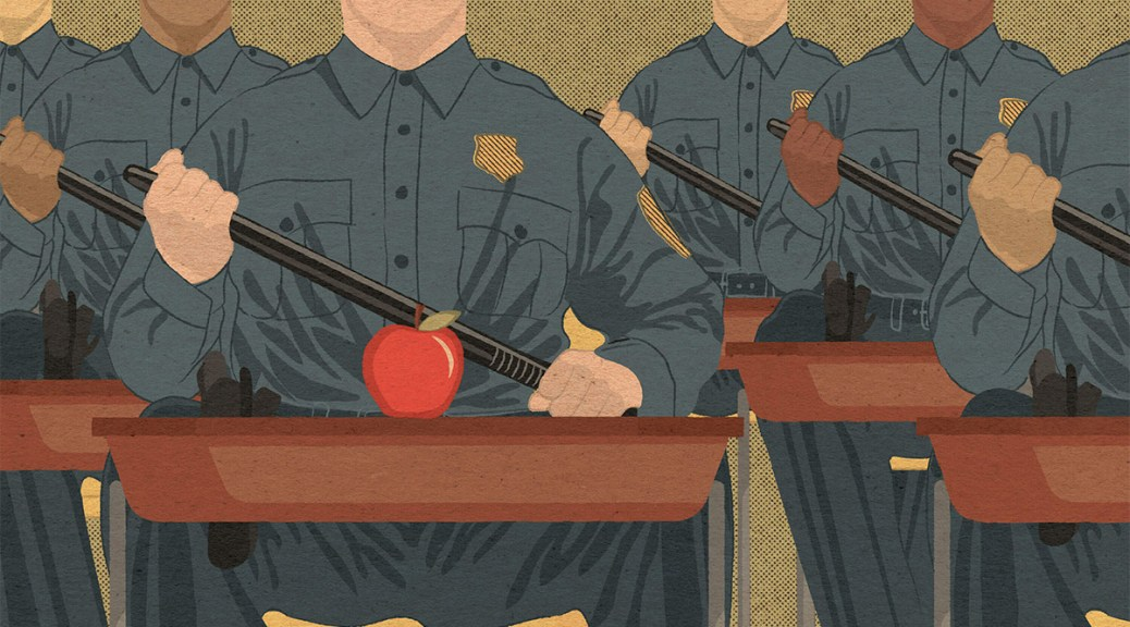 Illustration of law enforcement officers sitting uncomfortably at school desks with their uniforms and holding batons. The front desk has a single red apple sitting on it.