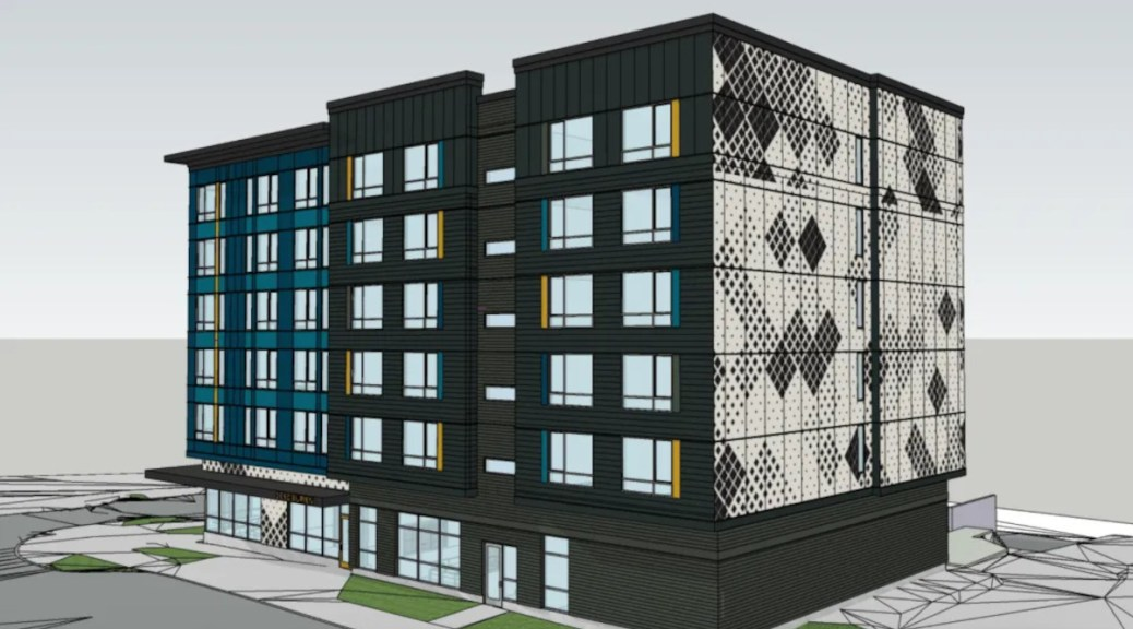 A mock-up of a six-story permanent supportive housing project by DESC.