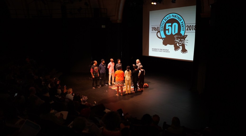 A 2018 event honoring the history of Seattle's Black Panther Party held at the Langston Hughes Performing Arts Institute.
