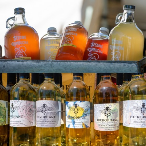 A selection of mead and kombucha offered by a vendor at the Columbia City Farmers Market.