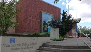 The Rainier Beach branch of Seattle Public Library reopens for limited hours on June 8. Photo by Andrew Engelson.