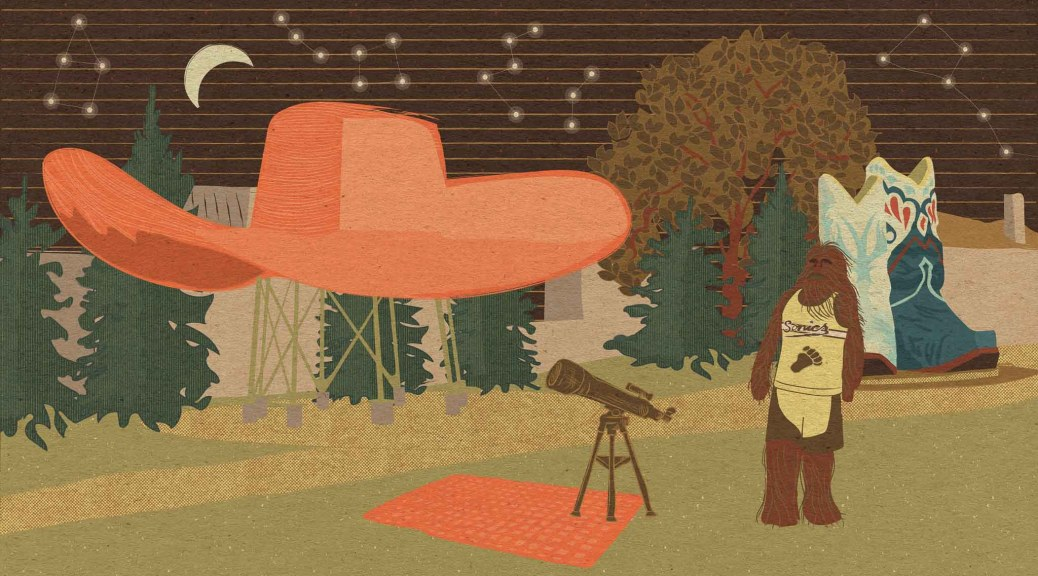 An illustration of an outdoor scene with a very large orange cowboy hat on a stand and a massive pair of blue, white and red cowboy boots nearby, with trees around them and a sasquatch wearing a yellow Seattle SuperSonics basketball uniform looking up at the night sky next to a telescope on a tripod and constellations connected by lines in the sky behind the park.
