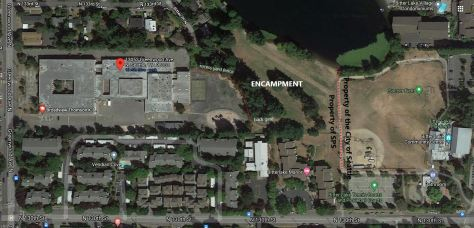 Labeled Google Maps image of homeless encampment on grounds of school