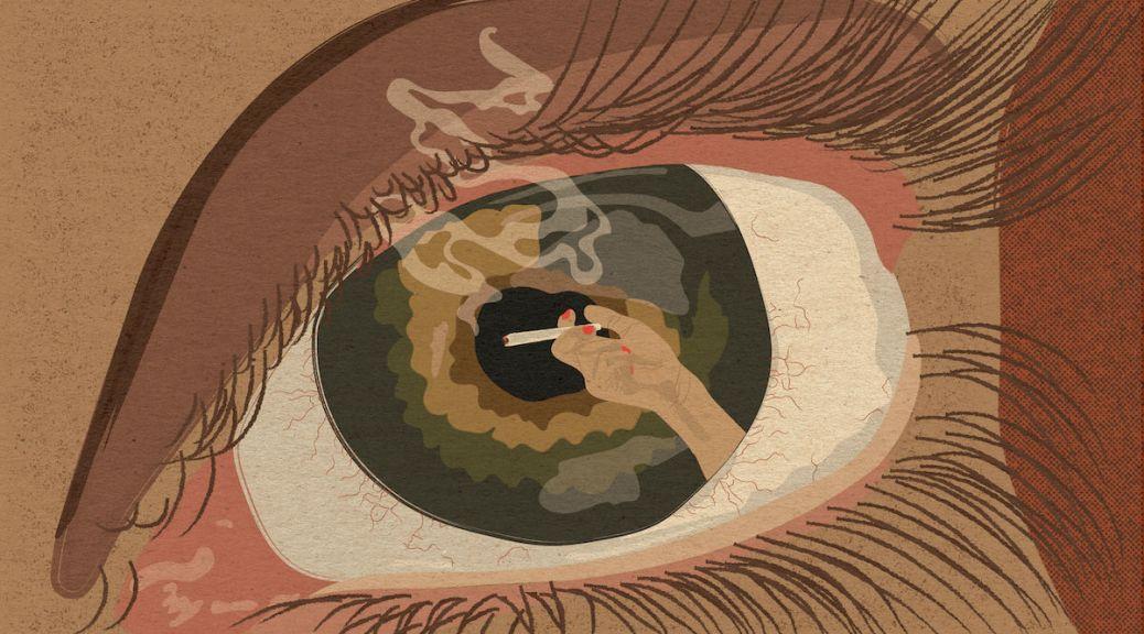 eye with hand holding cigarette Illustration by Alexa Strabuk