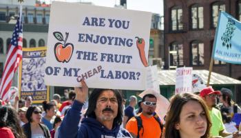 labor protest - photo by Susan Fried
