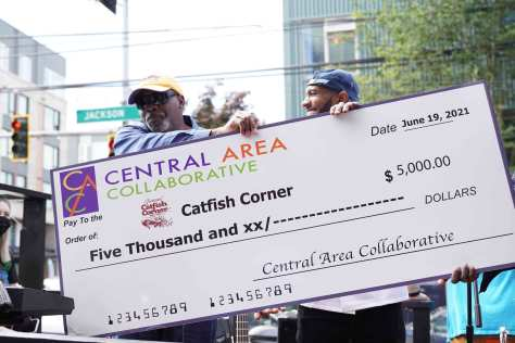 The Central Area Collaborative awarded Jackson's Catfish Corner $5,000 to celebrate the restaurant's grand reopening in the Central District.
