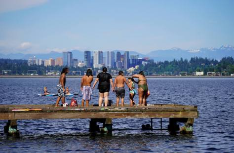 Bellevue looms in the background from the pier at Mount Baker Park. (Photo: Susan Fried)
