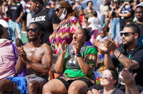 Spectators gathered in the warm sun to celebrate Juneteenth with King County Equity Now's Freedom March and Celebration in Jimi Hendrix Park.
