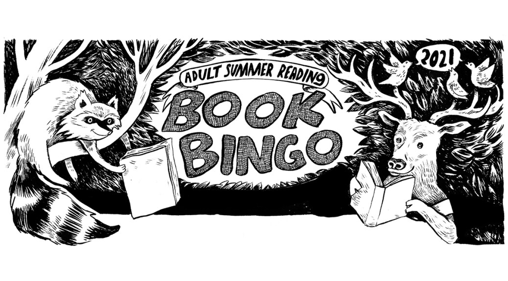 Black-and-white illustration with a racoon and stag promoting the 2021 SPL and SAL Book Bingo.