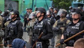 Seattle riot police. Photo by Alex Garland.