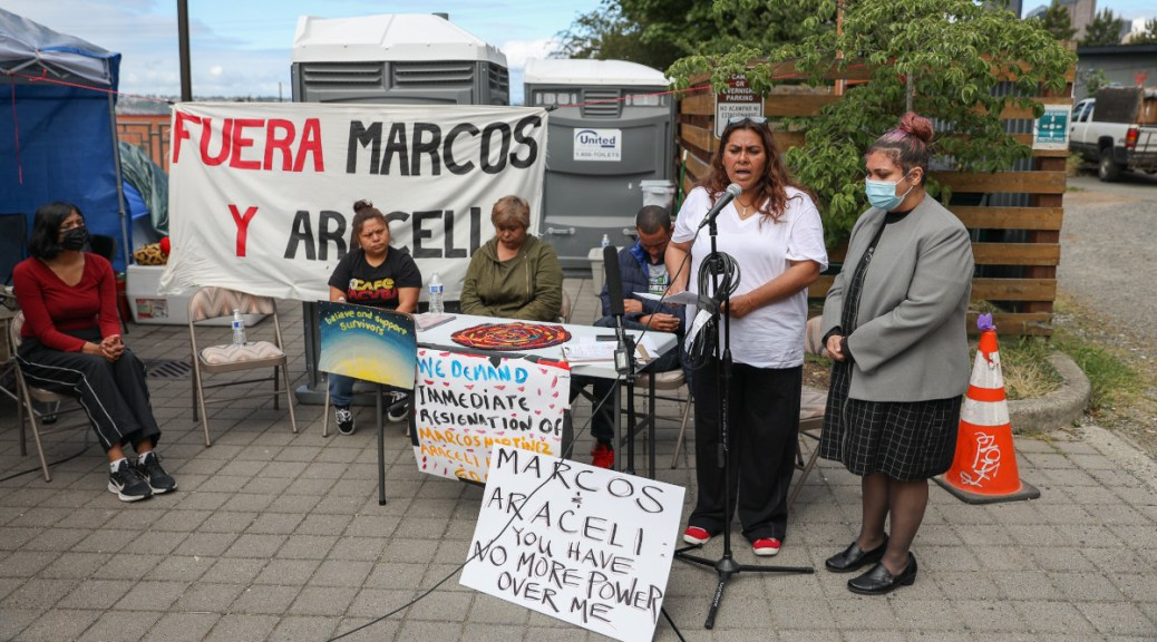Employees of Casa Latina speak out during a hunger strike protesting what they say is an inadequate response to sexual harassment at the organization.