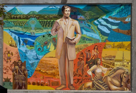 A bright and colorful mural of several Filipino national heroes.