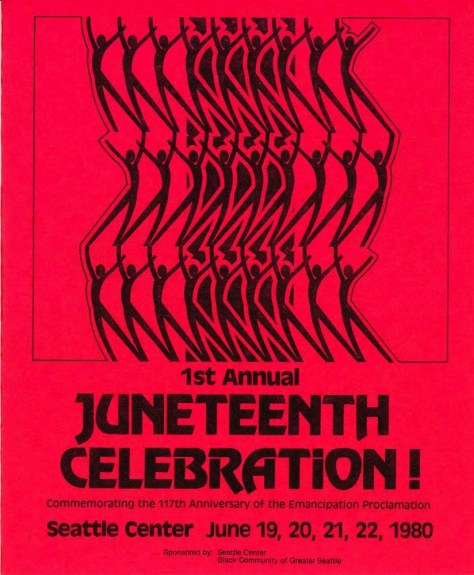 Red poster advertising the first annual Juneteenth celebration at the Seattle Center in 1980.