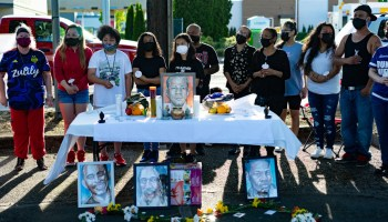 Family members of Jesse Sarey at a vigil on May 31, 2021, to commemorate the life of Jesse Sarey and mark two years since his death.