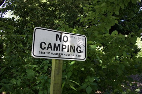 No camping sign outside Amy Yee Tennis Center, a site that was cleared of two encampments on May 12.