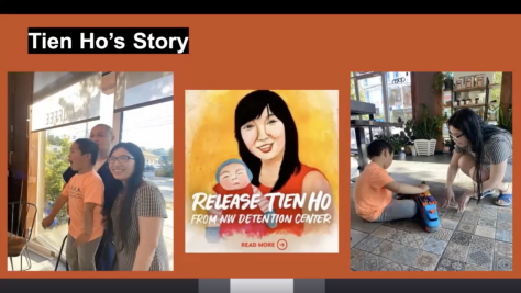 Screenshot of Tien Ho speaking during the press conference. She was released several weeks ago from NWIPC.