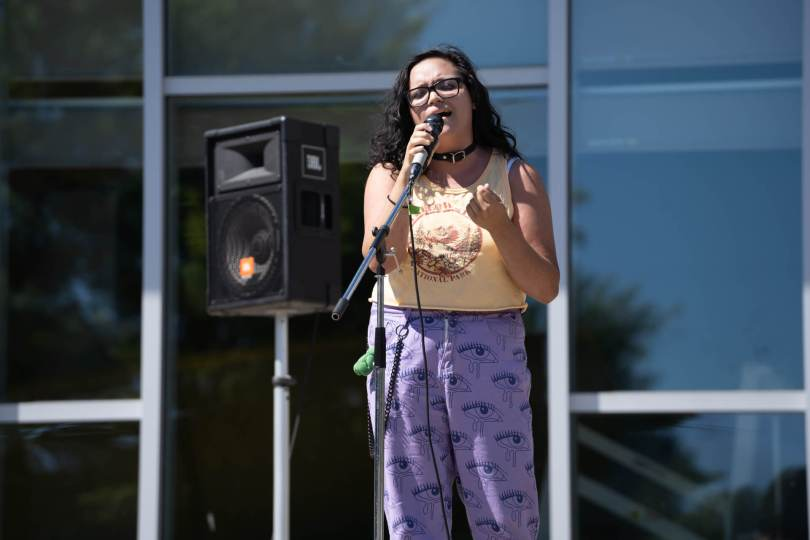 """Singer Chloe Remigio performs their version of classic """"dad rock"""" songs."""