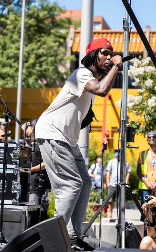 Local artist Kiddus Fecto raps an unreleased song for the audience.