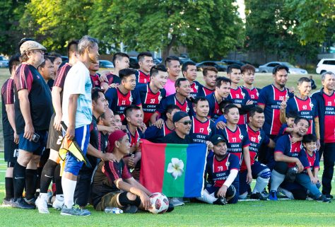 Cham South West takes a team photo before their game.