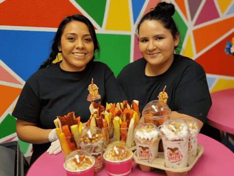 Jazzy's Antojitos & Gelatinas owners Joselyn Chavez (left) and Jazmin Becerra (right) with their antojitos.