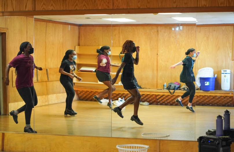 The Northwest Tap Connection's Youth Tap Ensemble rehearses in the studio