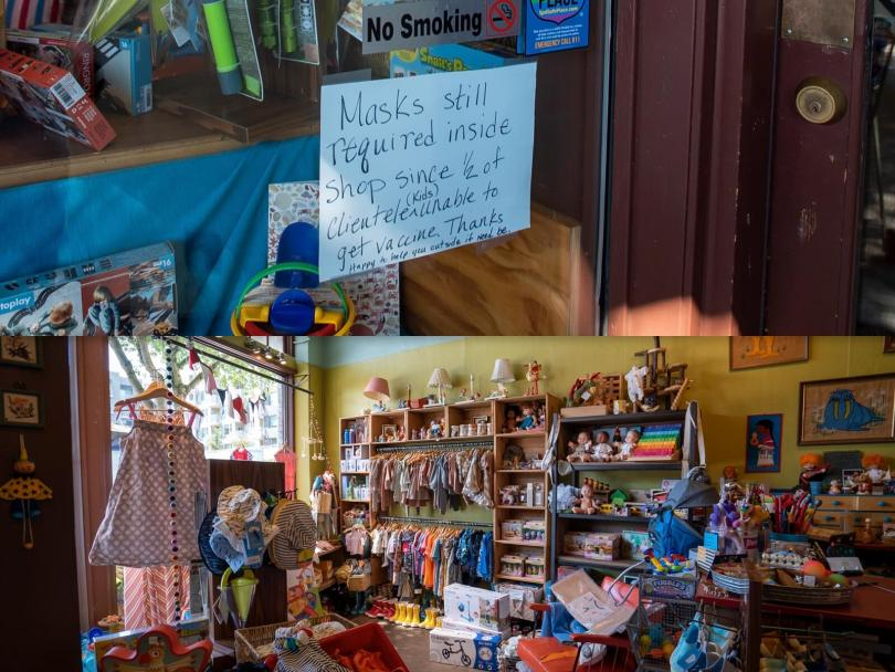 """Split photo with the top showing a sign posted to the exterior of the store Chrysanthemum stating, """"Masks still required inside shop since 2/2 of clientele unable to get vaccine."""" Lower photo depicts the wares inside Chrysanthemum."""