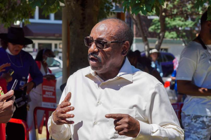 The Reverend Robert Jeffrey Sr. speaks to the media during the rally.