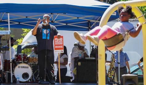 Former King County Councilmember Larry Gossett speaks during the rally