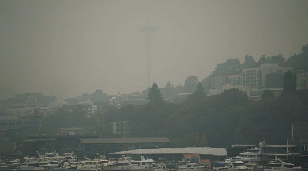 Photo of the Seattle skyline with smoke covering most of the Space Needle