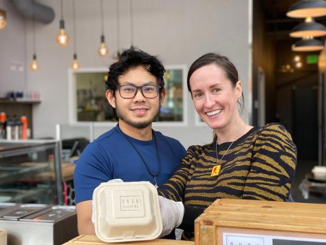 Chef Muhammad Fairoz Rashed (left) and Katie Pohl (right) behind the counter at SUSU Dessert Bar in the Chinatown-International District.