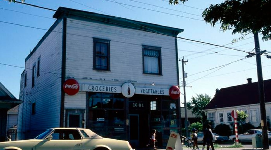 Photo of a grocery store building during the 1980s.