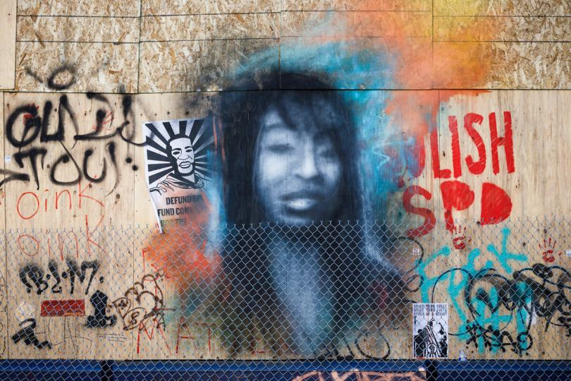 photo of mural of Charleena Lyles on Capitol Hill